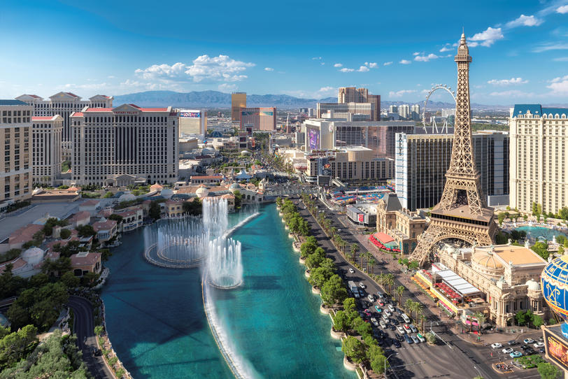 Aerial view of Las Vegas strip at sunny day
