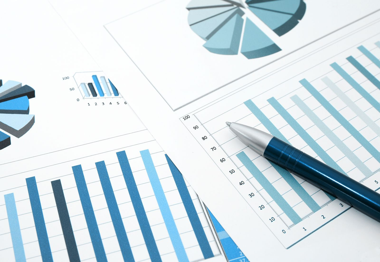 Table charts with data and statistics