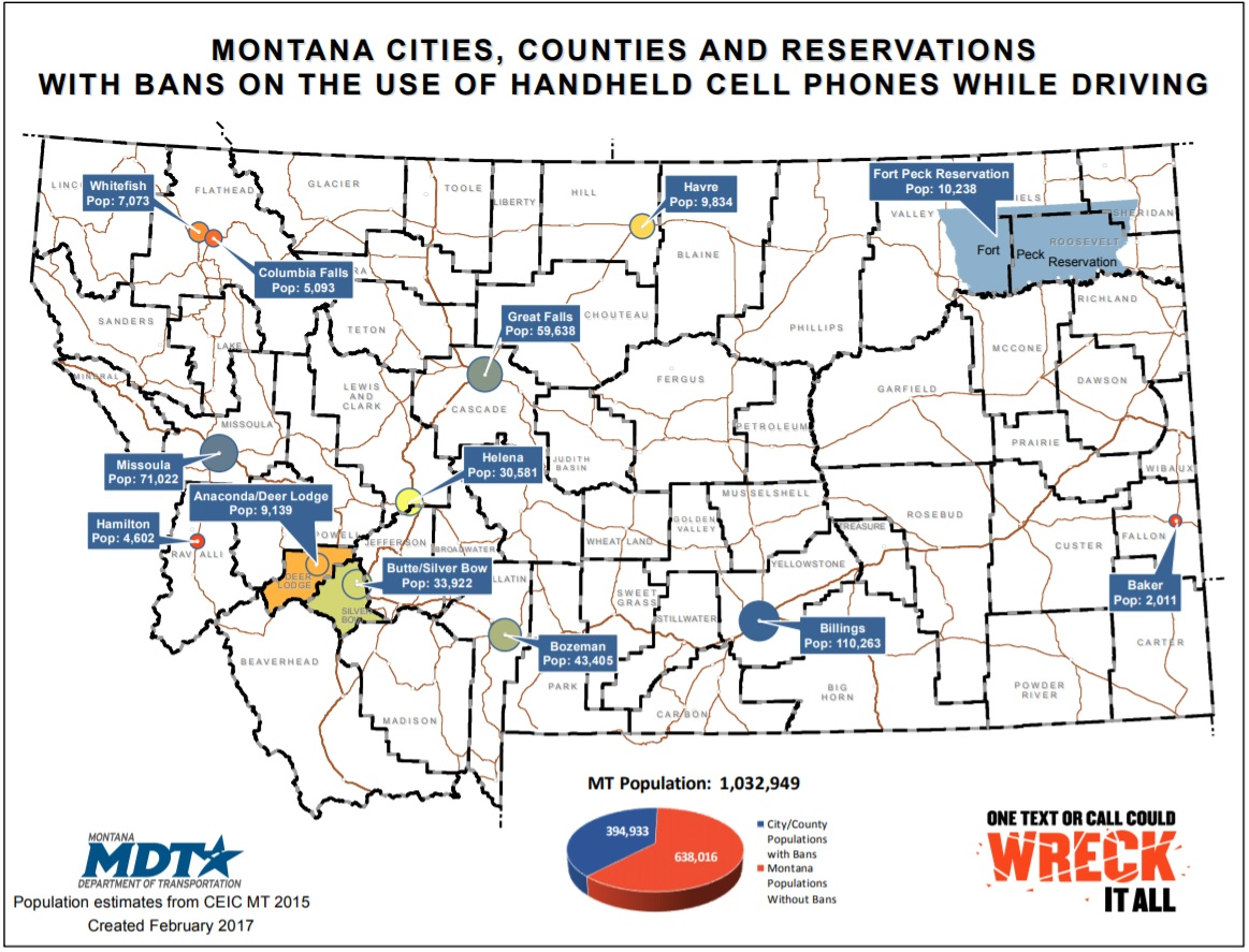 map of montana with handheld bans