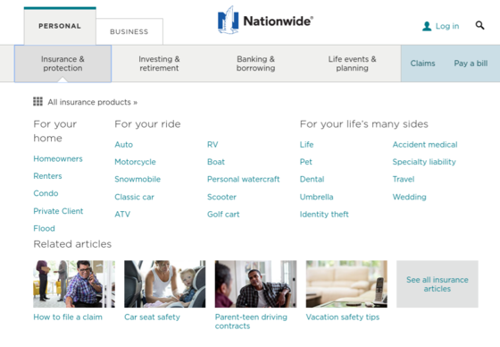 Nationwide Auto Insurance website navigation