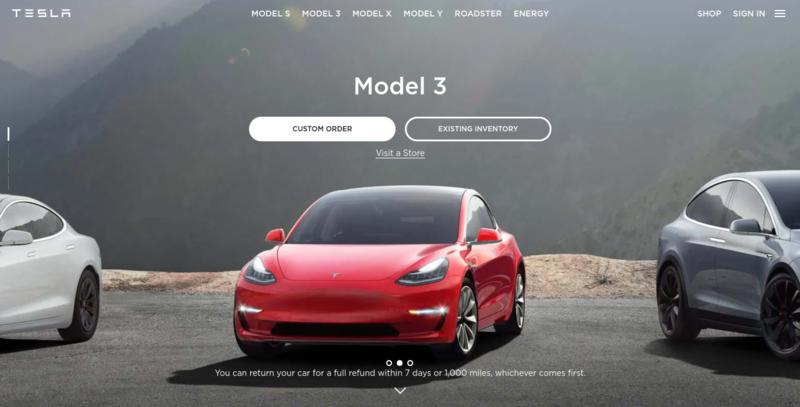 Tesla home page