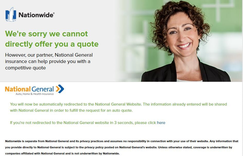 Nationwide Auto Insurance quote quote denied