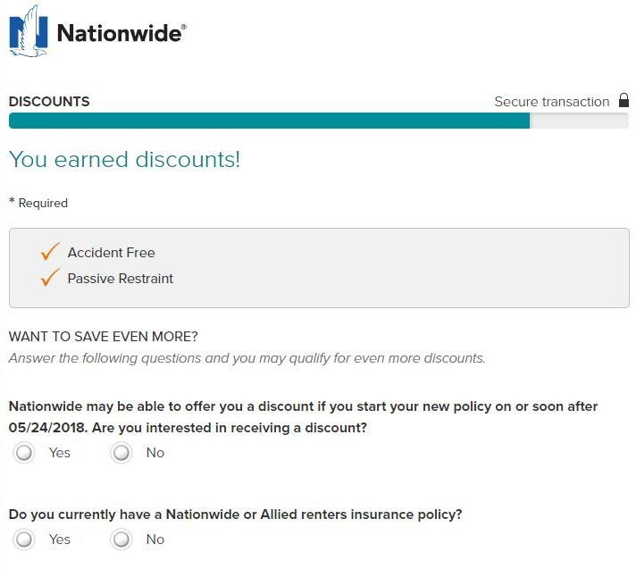 Nationwide Auto Insurance quote discounts
