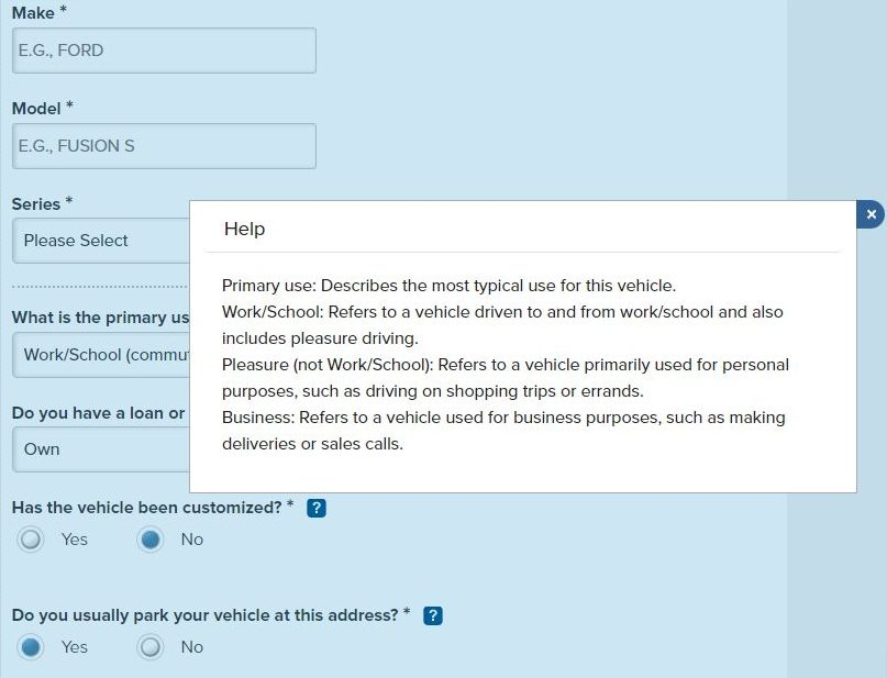 Nationwide Auto Insurance quote pop-up help