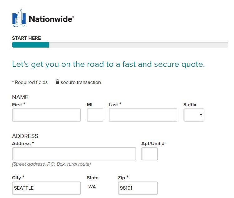 Nationwide Auto Insurance quote personal information