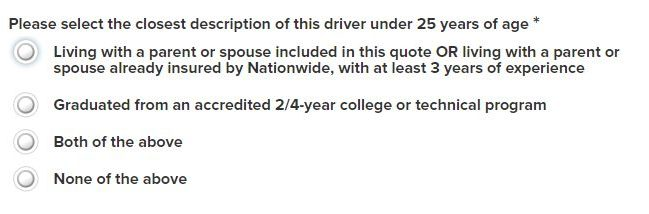 Nationwide Auto Insurance quote driver under 25