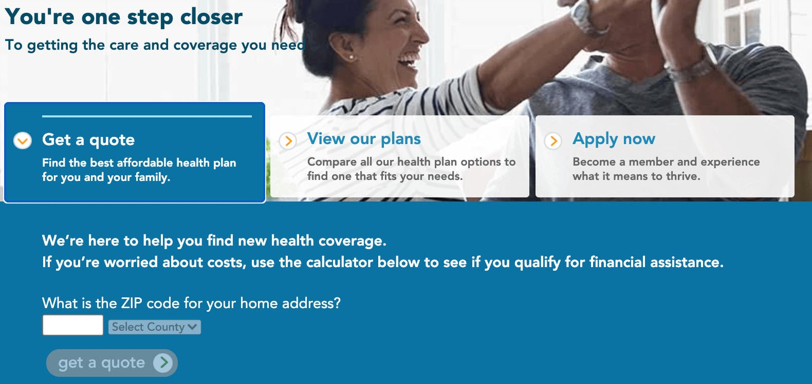 Kaiser Permanente Online Quote Request Page