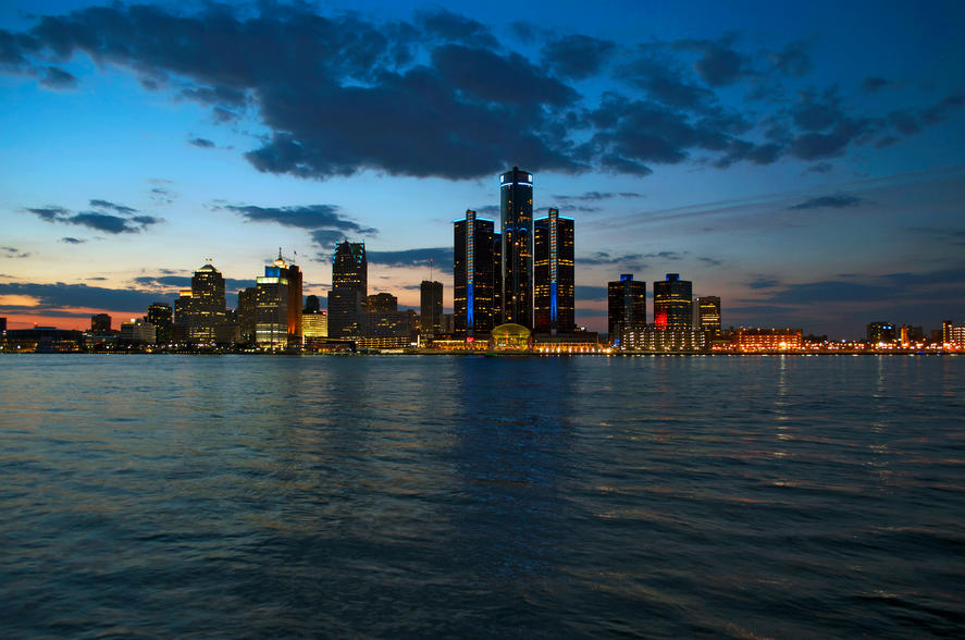 Detroit, Michigan Evening Panoramic