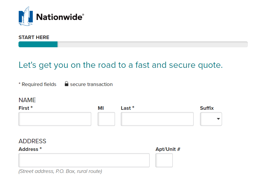 Getting a quote online with Nationwide p2
