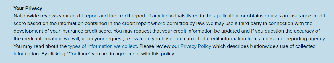 Nationwide online quote privacy notice