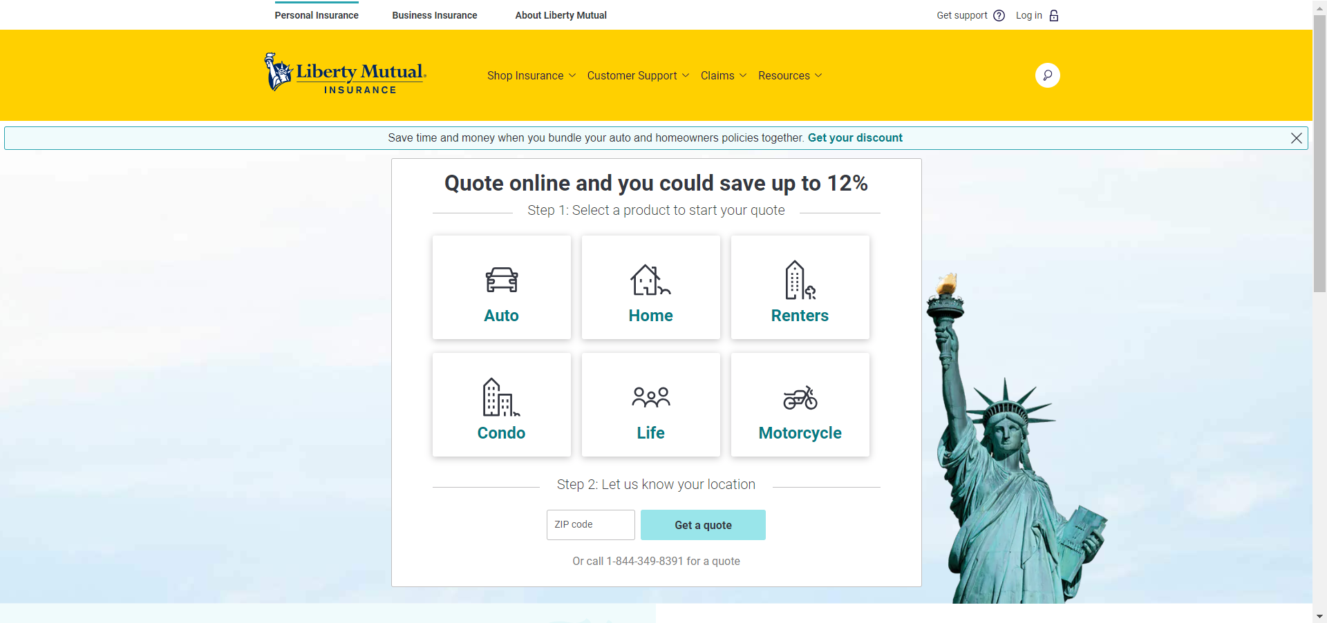 Liberty Mutual Home Page Quote Directions 1