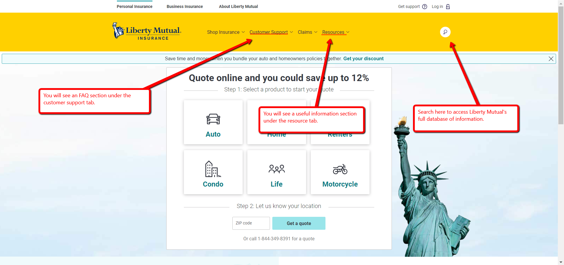 Liberty Mutual FAQ and Search Directions
