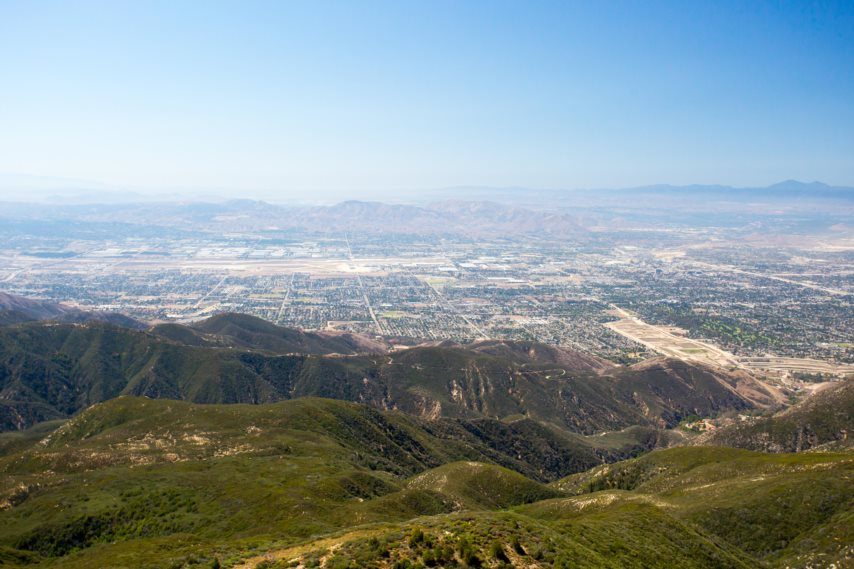 he view over San Bernardino from Hwy 18 on a clear, hot summer's day in Los Angeles, California, USA