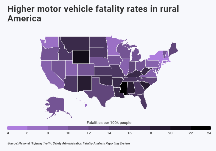 heat map showing higher fatality rates in rural Amercia