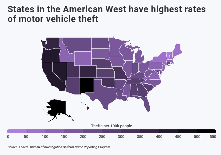 Heat map of US showing the West has highest rates of vehicle theft