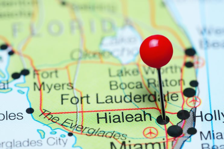 Hialeah pinned on a map of Florida, USA
