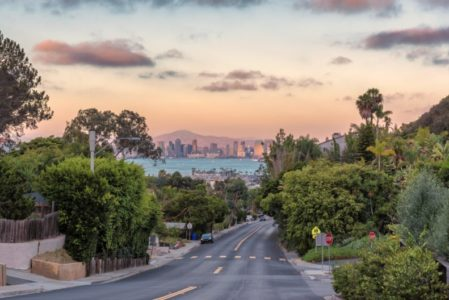 San Diego, California skyline view from road on Point Loma at sunset.