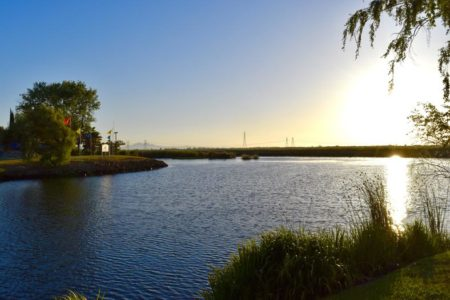 View from Garlic Brothers Restaurant in Stockton, California.
