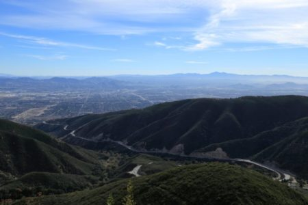 View of San Bernardino National Forest from Skyforest, California with mountains and blue sky.