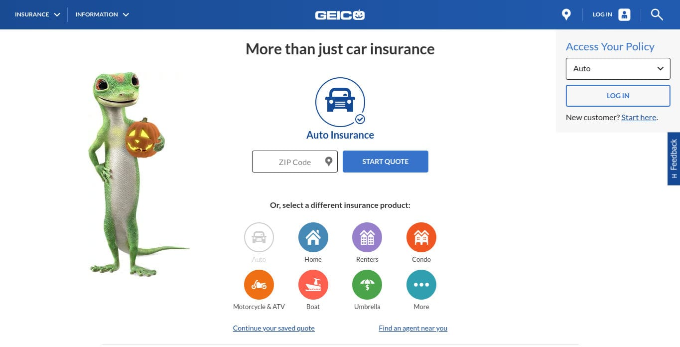 Geico Car Insurance Quote Homepage