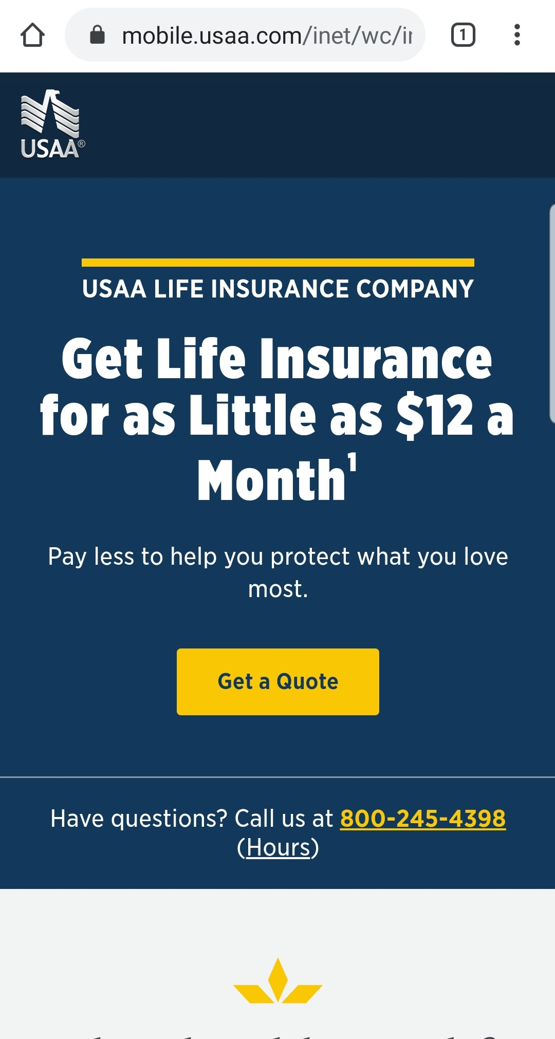 USAA mobile life insurance page.