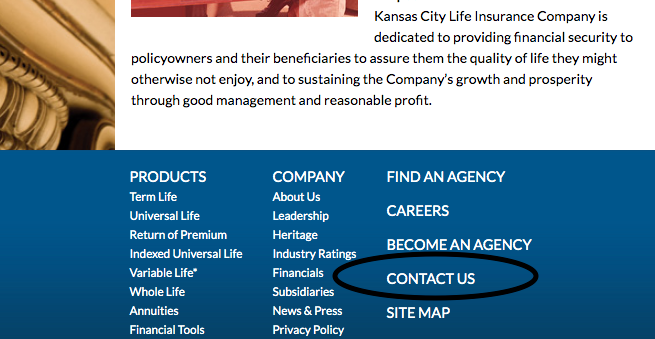 Kansas City Life Contact Us from Homepage