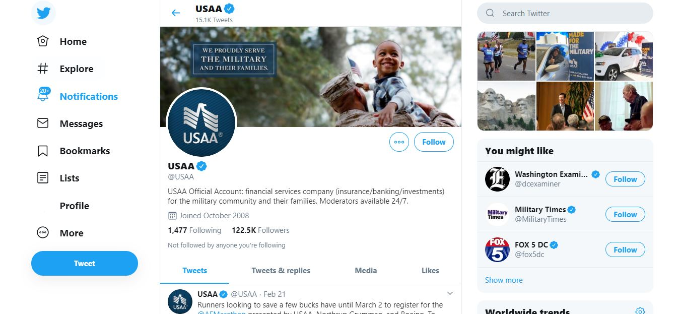 USAA Twitter page.