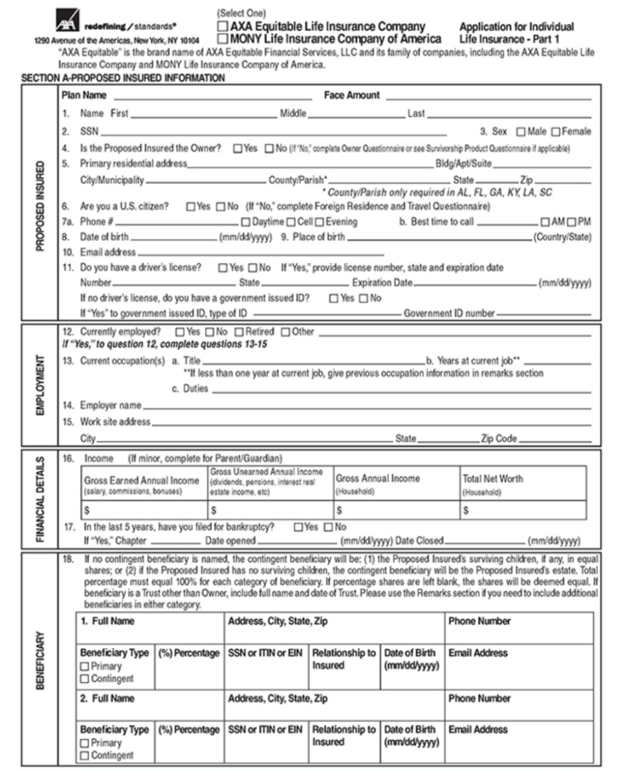 Sample Life Insurance Application