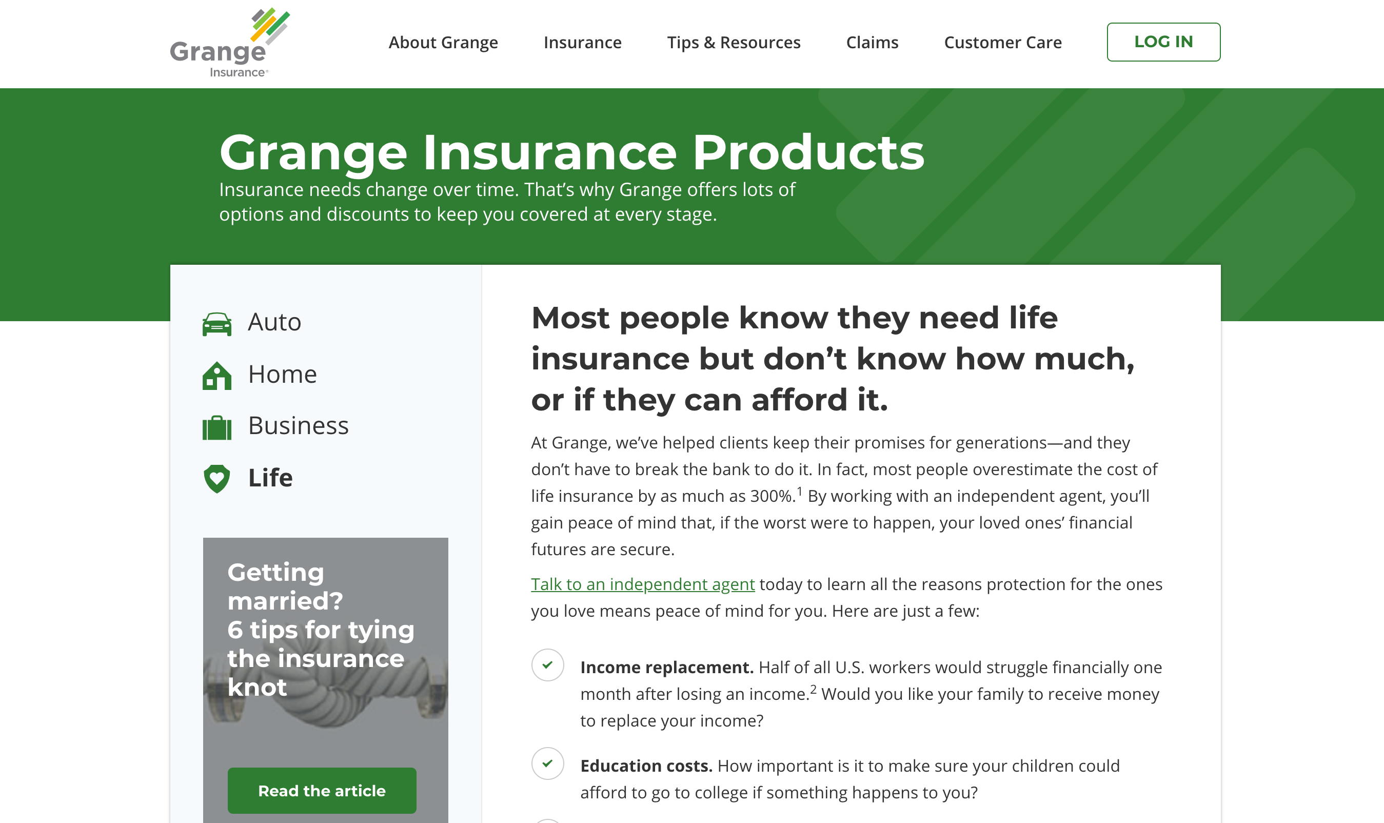 Grange Life Products Page