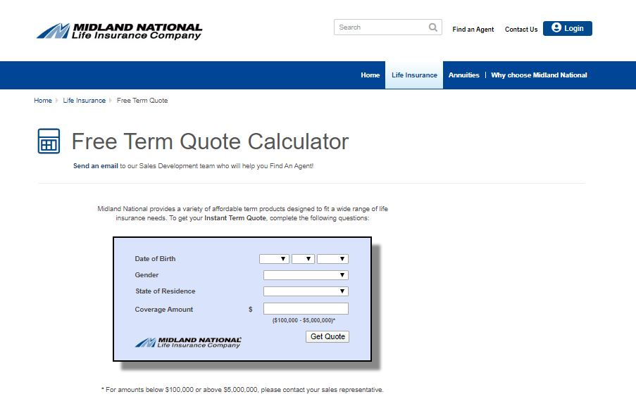 Midland National website free term quote calculator.