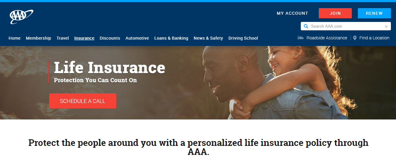 AAA Life insurance page on AAA site
