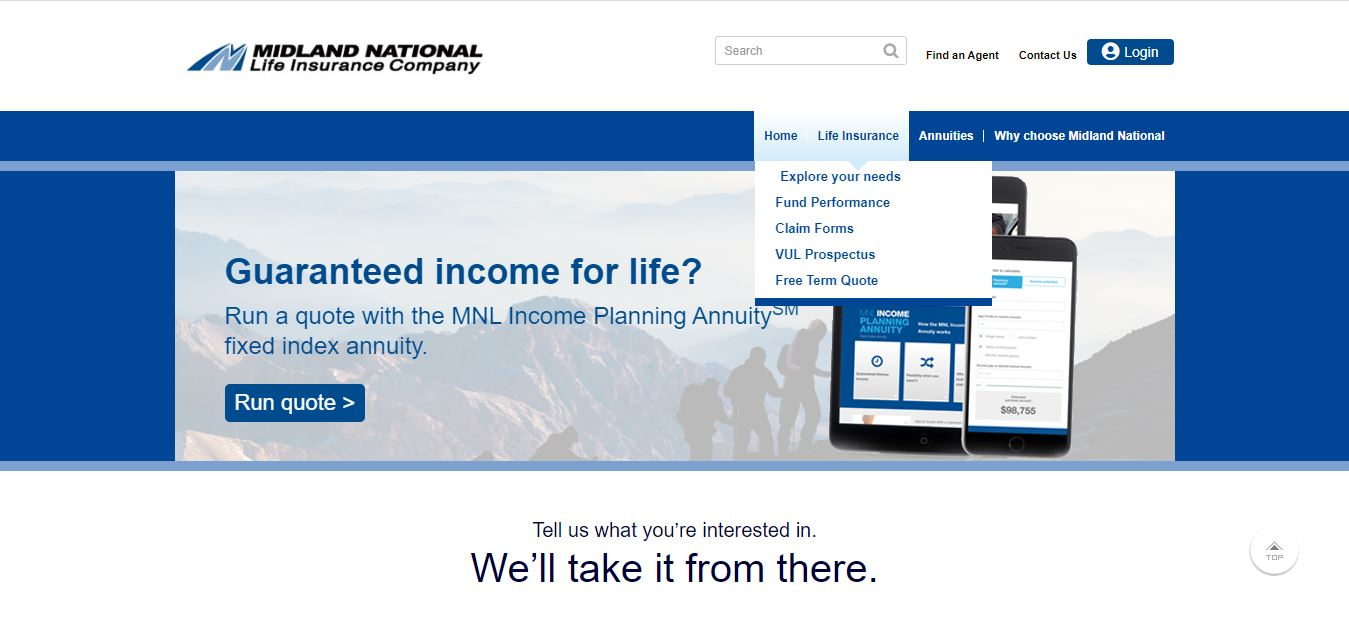 Midland National website life insurance drop down menu.
