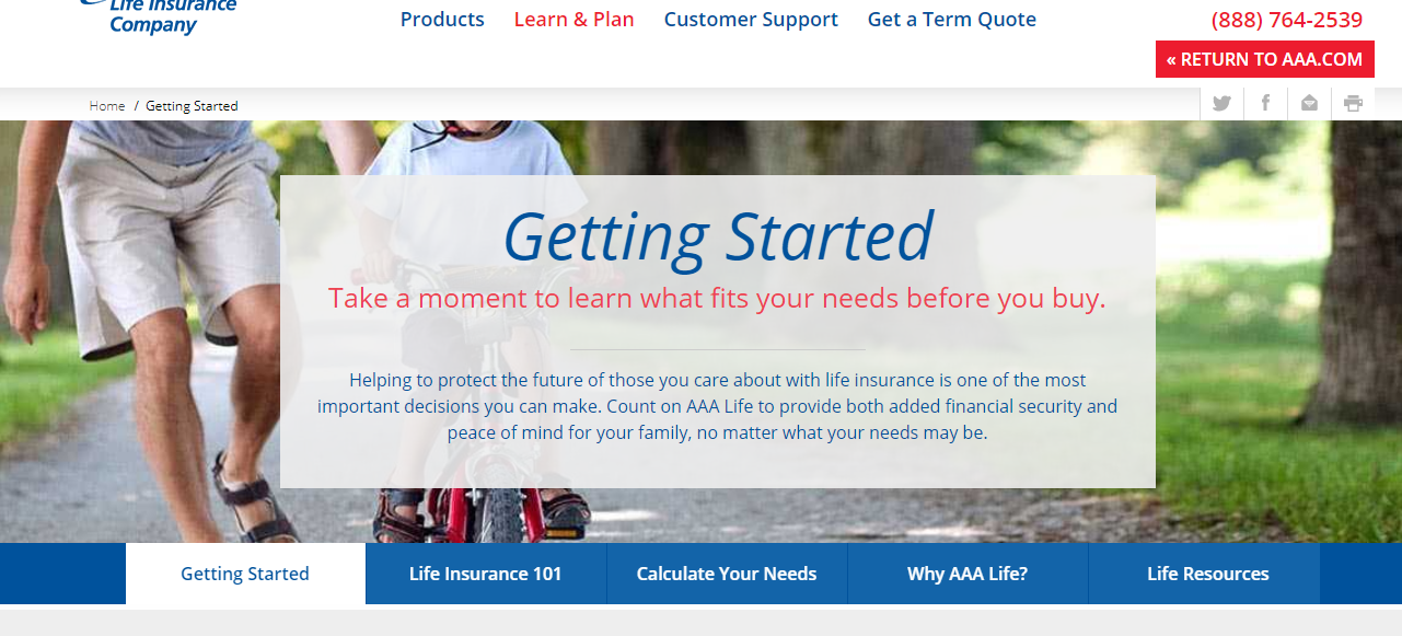 AAA Life website Getting Started page