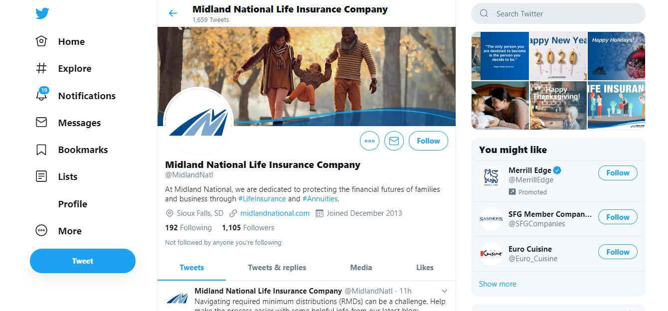 Midland National's Twitter page.