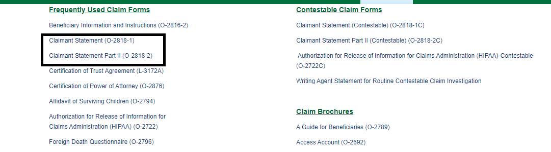 Links to North American Company Claim Forms