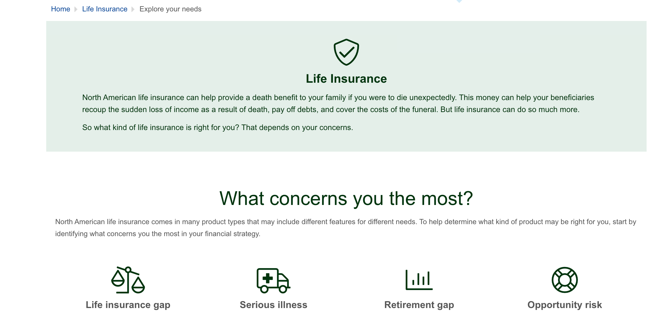 North American Company Life Insurance Product Page