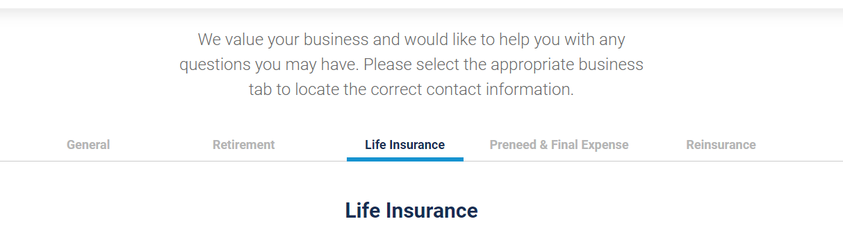 Global Atlantic Website Life Insurance Information Tab