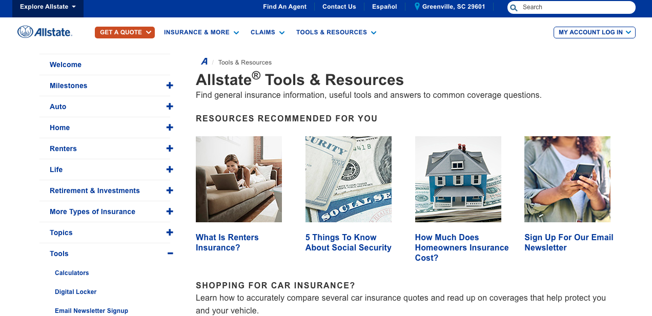 Allstate website tools and resources