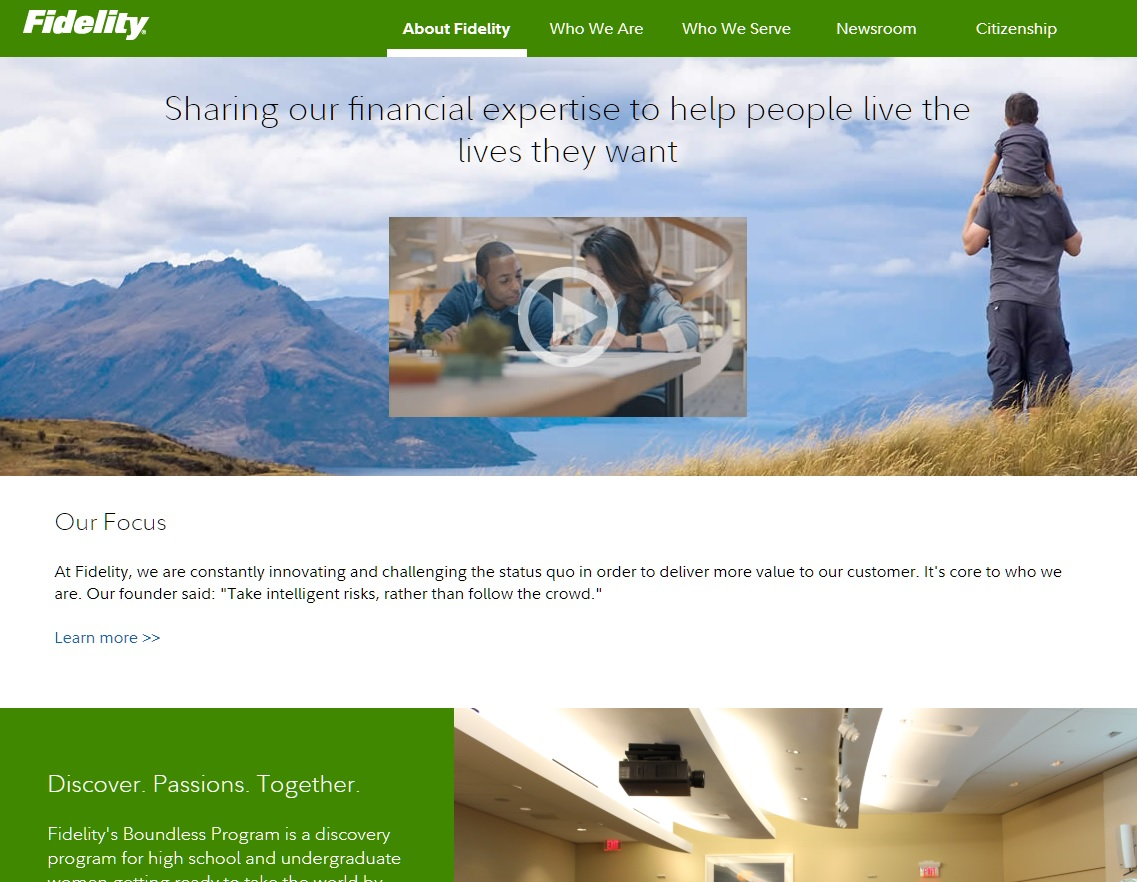 Fidelity About Landing Page