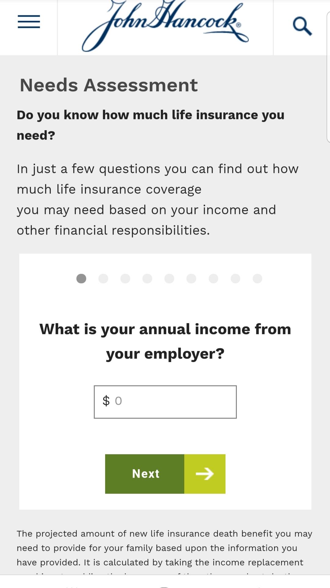 John Hancock mobile life insurance calculator