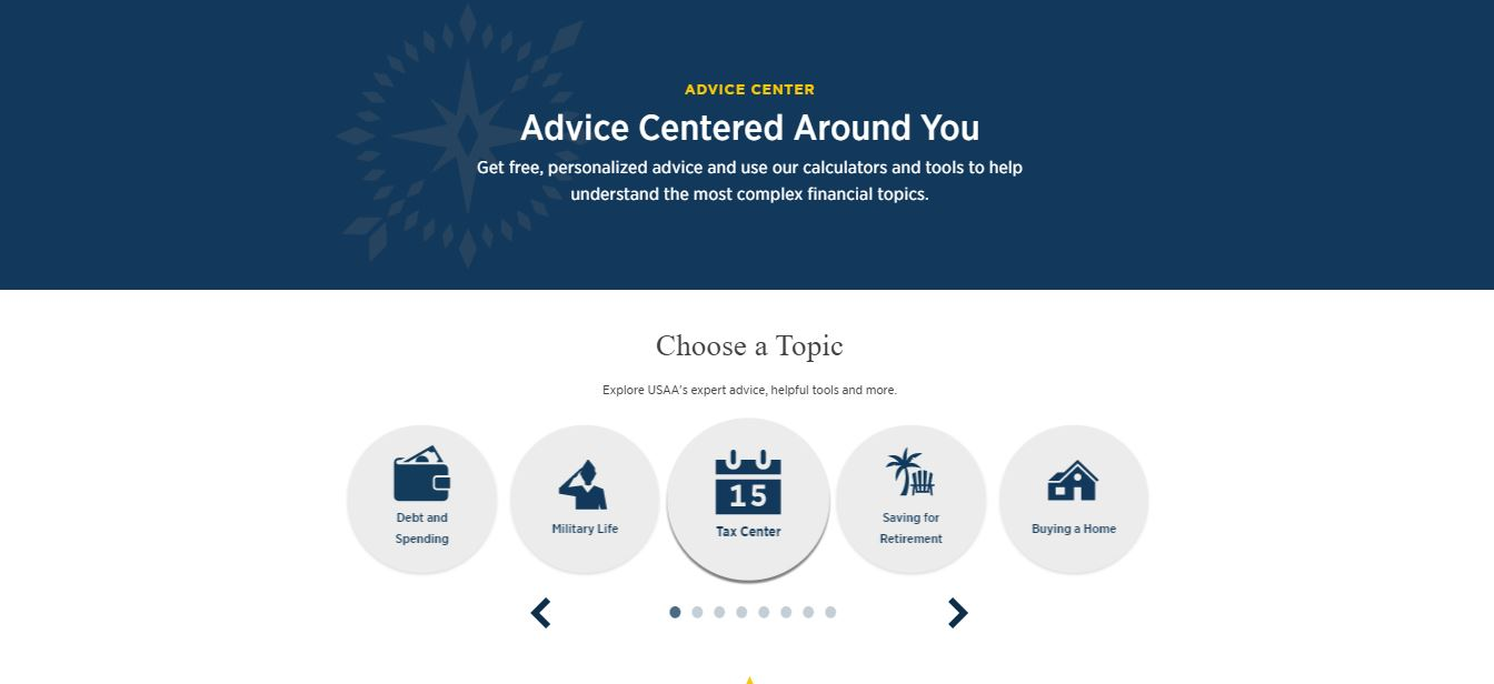 USAA advice center page.