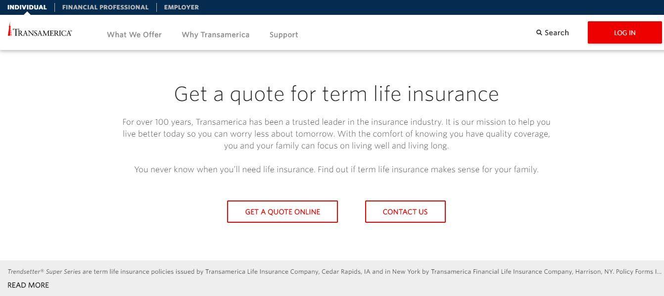 Transamerica online quote, step 2.