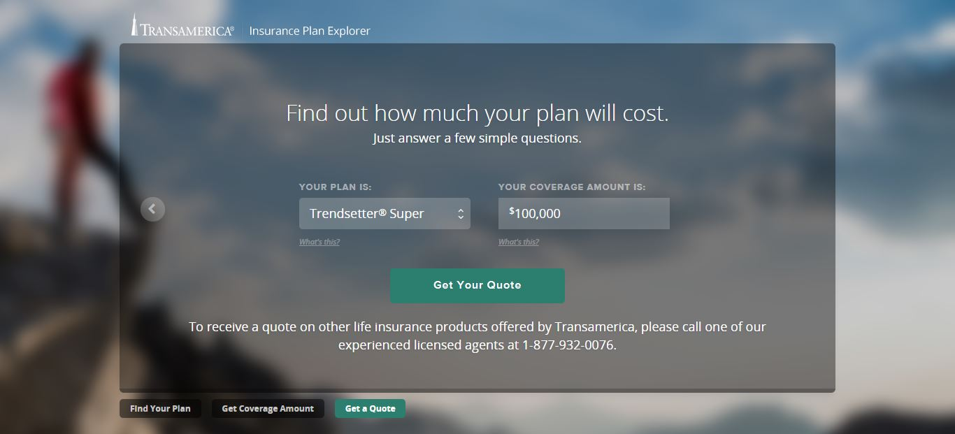 Transamerica online quote step 3