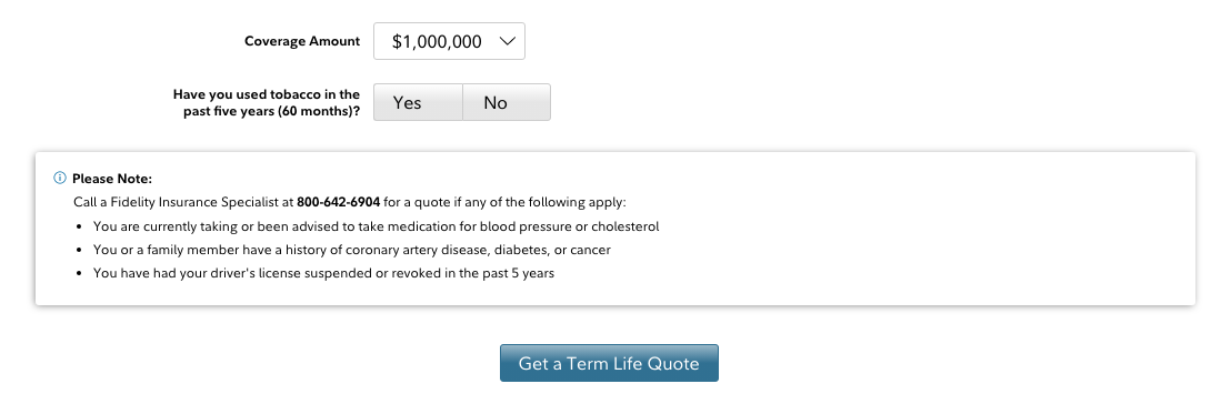 Fidelity Get Term Life Quote Button