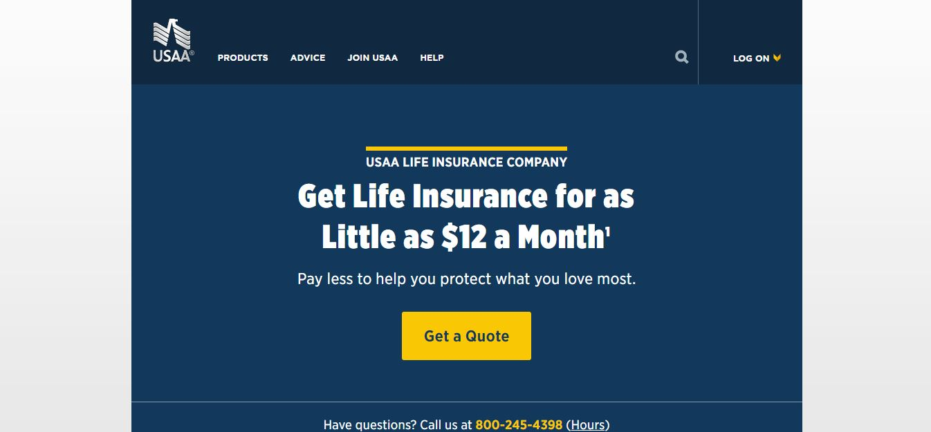 USAA website quote tool screen