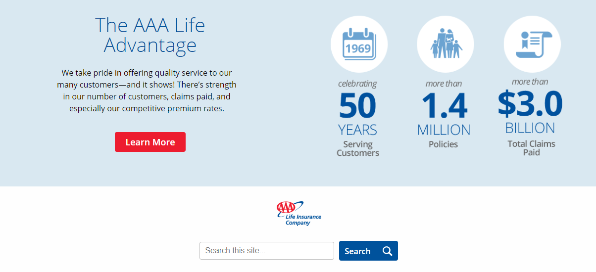 AAA Life website Main Page