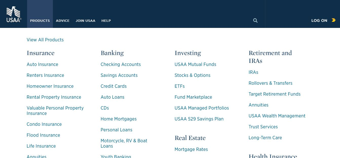 USAA website Products dropdown menu