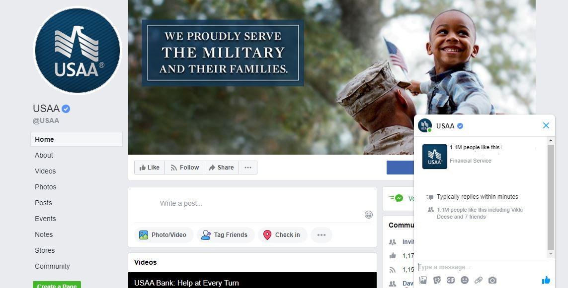 USAA Facebook page.