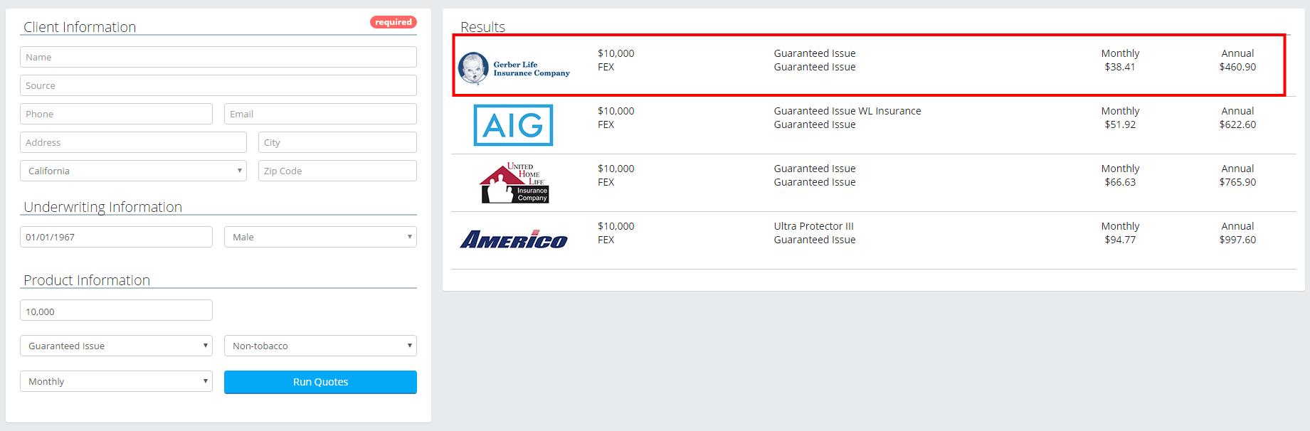 AARP life 50yrs vs others guaranteed 10k