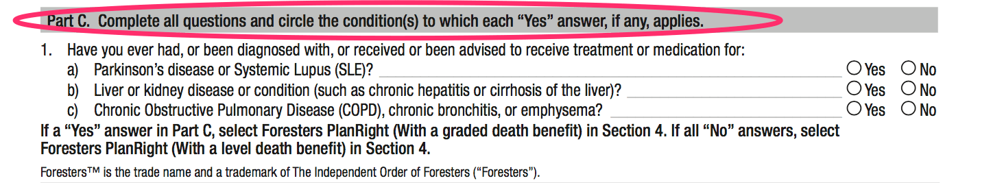 foresters modified benefit health questions